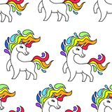 Unicorn pattern seamless vector on white background .Vector pattern with cute unicorn.Magic rainbow little unicorn. Baby wallpaper. White horse and rainbow mane Royalty Free Stock Image
