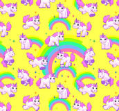Unicorn pattern yellow Stock Photography