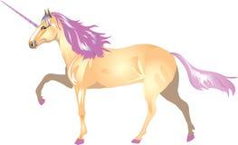 Unicorn With PinkHorn en Manen - Vectorillustratie royalty-vrije illustratie