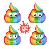 Unicorn poop emoji cartoon character stickers. Royalty Free Stock Photos