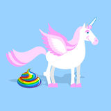 Unicorn pooping color turd. Fantastic animal in sky. Fabulous be Stock Images