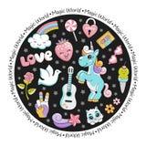Unicorn pop art comic style round card with stars and magic animals. Vector illustration Stock Image
