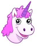Unicorn portrait. Portrait of cartoon unicorn on the white background Stock Images