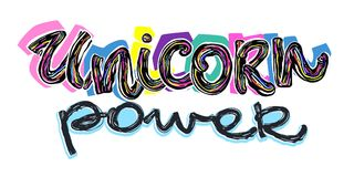 Unicorn power. Cartoon unicorn power  banner for textile design. Royalty Free Stock Photo