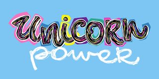 Unicorn power. Cartoon unicorn power  banner for textile design. Stock Photos