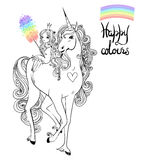 Unicorn and princess. Beautiful unicorn and princess - black and white vector illustration Royalty Free Stock Image
