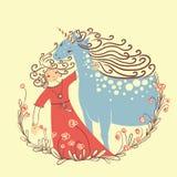 Unicorn and princess Royalty Free Stock Image