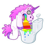 Unicorn pukes rainbow in the toilet vector illustration