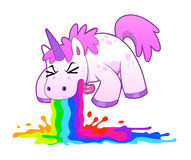 Unicorn puking rainbow. Pink funny unicorn pukes liquid rainbow. Vector illustration