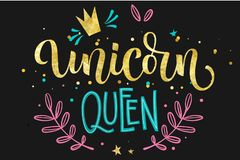 Unicorn Queen hand drawn isolated colorful gold foil calligraphy text on dark background vector illustration