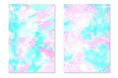 Unicorn rainbow background. Holographic sky stock illustration