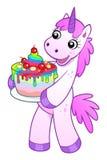 Unicorn with rainbow cake Stock Images