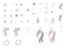 Unicorn Rainbow Clip Art Collection Stock Fotografie
