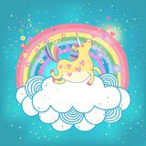 Unicorn rainbow in the clouds. Card with a cute unicorn rainbow in the clouds. Vector illustration Vector Illustration