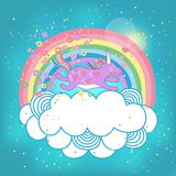 Unicorn rainbow in the clouds Stock Image