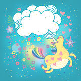 Unicorn rainbow in the clouds. Card with a cute unicorn rainbow in the clouds. Vector illustration Stock Image
