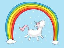 Unicorn with rainbow. Cute cartoon unicorn under a rainbow and with stars around Royalty Free Stock Photo