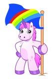 Unicorn with rainbow flag. Cartoon pink unicorn holding the rainbow flag Royalty Free Stock Photos