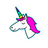 Unicorn with rainbow horn on a white background. Stock Image