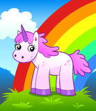 Unicorn in rainbow land Royalty Free Stock Photography