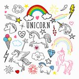 Unicorn Rainbow Magic Freehand Doodle Etiquetas e remendos isolados no fundo branco Fotos de Stock