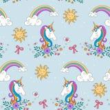 Unicorn Rainbow-Muster lizenzfreie abbildung