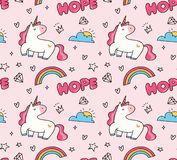 Unicorn and rainbow seamless pattern in kawaii style vector royalty free illustration