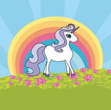 Unicorn with a rainbow Royalty Free Stock Images