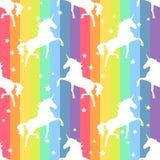 unicorn Regnbågen mönstrar royaltyfri illustrationer