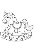 Unicorn ride coloring page Stock Image