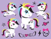 Unicorn Rocker Vector Illustration punky ilustración del vector