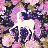 The unicorn, roses and butterflies Seamless pattern in pink, pur Stock Photo