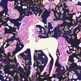 The unicorn, roses and butterflies Seamless pattern in pink, pur Stock Image