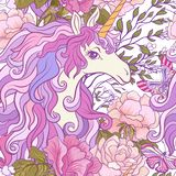 The unicorn, roses and butterflies Seamless pattern in pink, pur Royalty Free Stock Image
