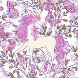 The unicorn, roses and butterflies Seamless pattern in pink, pur Royalty Free Stock Images