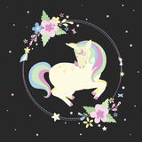 Unicorn with round frame Royalty Free Stock Photo