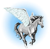 Unicorn running. Vector image of a running unicorn with beautiful wings vector illustration