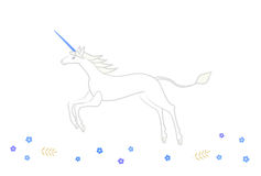 Unicorn running in blue flowers Royalty Free Stock Image