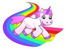 Unicorn runs on rainbow. Vector illustration of pink cartoon unicorn running on the rainbow road Stock Photography