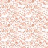 unicorn Süßigkeit und kleine Kuchen Nahtloser Musterhintergrund Stockbilder