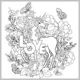 unicorn Sammansättningen består av en enhörning som omges av ett b Arkivbild