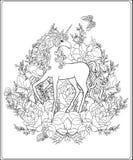 unicorn Sammansättningen består av en enhörning som omges av ett b Fotografering för Bildbyråer
