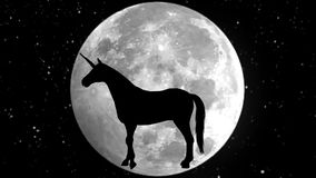 unicorn Schwarzes Schattenbild 4K stock abbildung