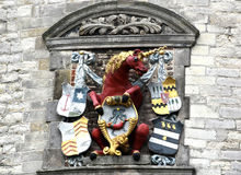 Unicorn. Sculpture of a unicorn, the town's symbol on Main Tower or Hoofdtoren in Hoorn, Netherlands. Built in 1532 to watch over the main entrance to the harbor Stock Images