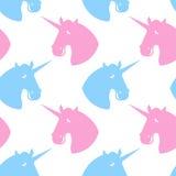 Unicorn seamless pattern. Blue fabulous beast with horn ornament Stock Photo