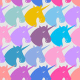 Unicorn seamless pattern. Blue fabulous beast with horn ornament Royalty Free Stock Images