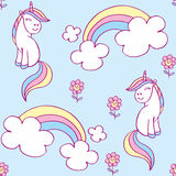 Unicorn seamless pattern. Fairy childhood seamless pattern with the image of cute unicorns. Colorful vector background Royalty Free Stock Photo