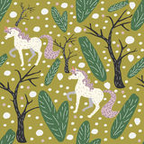 Unicorn Seamless Pattern. Green Background with spruce, fir and trees.Unicorn Seamless Pattern. Stock Photography