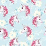 Unicorn seamless pattern. Unicorns with rainbow mane and horn on flat purple background with stars. Vector illustration.  Stock Photography