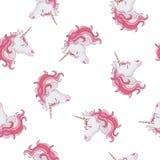 Unicorn seamless pattern. Unicorns with rainbow mane and horn on flat purple background with stars. Vector illustration.  vector illustration